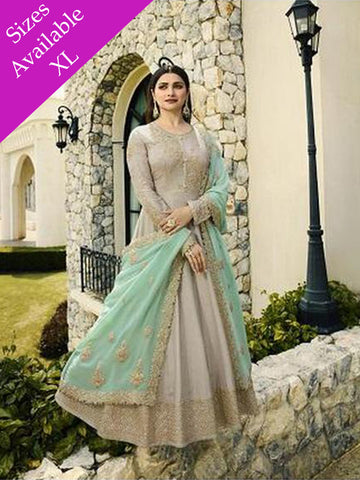 Designer Party Wear Grey Color Anarkali Suit