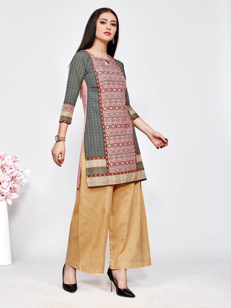 Designer and Beautiful Pink & Grey Color Straight Cut Kurti