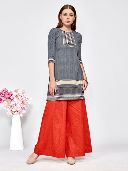 Designer and Beautiful Grey Color Straight Cut Kurti