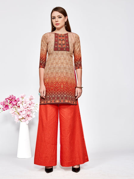 Designer and Beautiful Beige & Maroon Color Straight Cut Kurti