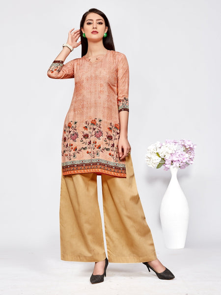 Designer and Beautiful Peach Color Straight Cut Kurti