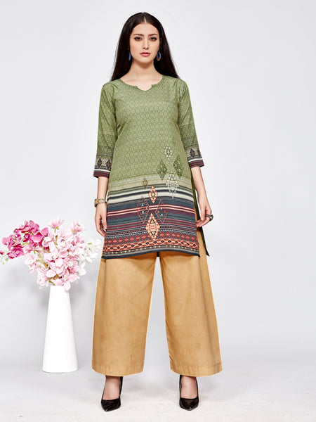 Designer and Beautiful Olive Green Color Straight Cut Kurti