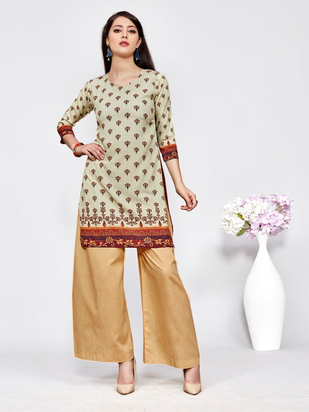 Designer and Beautiful Cream & Maroon Color Straight Cut Kurti