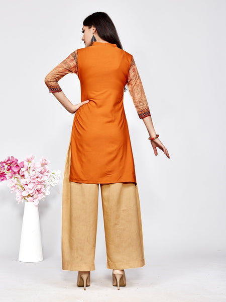Designer and Beautiful Orange Color Straight Cut Kurti