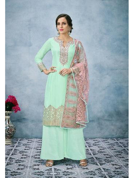 Designer and Beautiful Aqua Green Color Straight Cut Suit