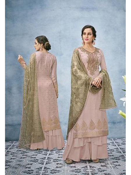 Designer and Beautiful Dusty Pink Color Straight Cut Suit