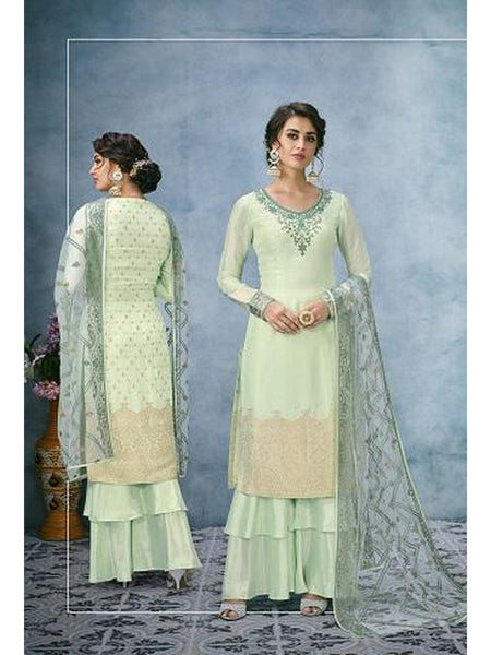 Designer and Beautiful Light Green Color Straight Cut Suit