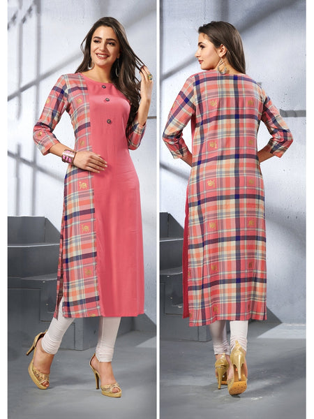Designer and Beautiful Dark Peach Color Straight Cut Kurti