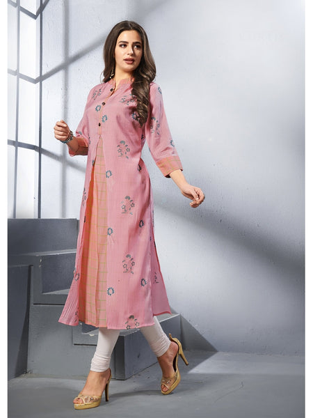 Designer and Beautiful Pink Color Straight Cut Kurti