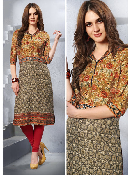 Designer and Beautiful Multi Color Straight Cut Kurti