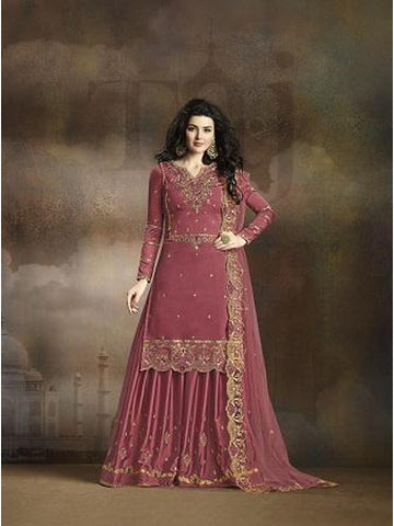 Designer and Beautiful Dark Pink Color Straight Cut Suit