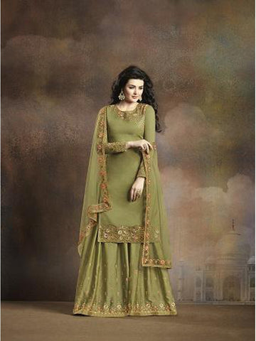Designer and Beautiful Olive Green Color Straight Cut Suit