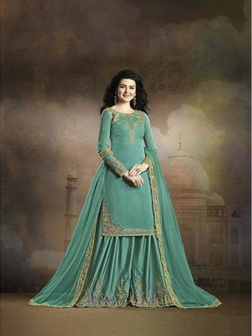 Designer and Beautiful Turquoise Blue Color Straight Cut Suit