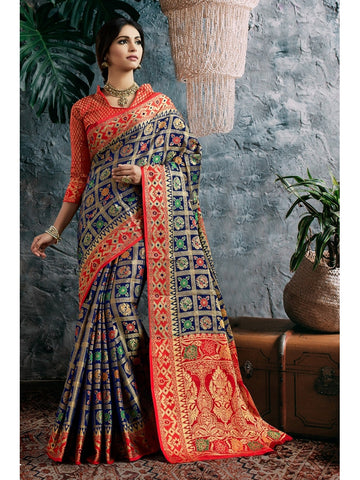 Designer and Gorgeous Navy Blue color Saree