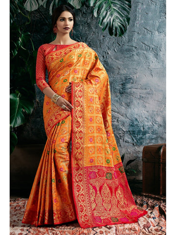 Designer and Gorgeous Orange color Saree