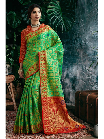 Designer and Gorgeous Green color Saree