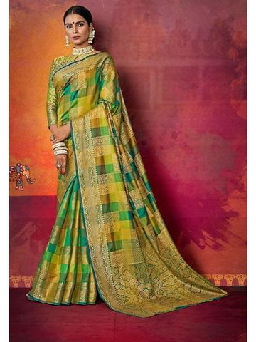 Designer and Gorgeous Green & Yellow color Saree