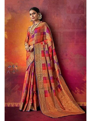 Designer and Gorgeous Orange & Purple color Saree