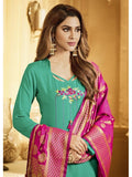 Designer and Beautiful Sea Green Color Straight Cut Suit