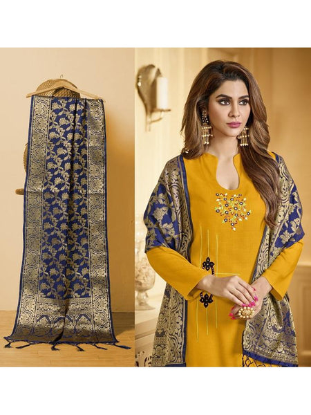 Designer and Beautiful Musturd Yellow Color Straight Cut Suit