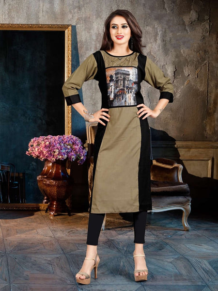 Designer and Beautiful Grey & Black Color Straight Cut Kurti