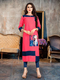 Designer and Beautiful Pink & Blue Color Straight Cut Kurti