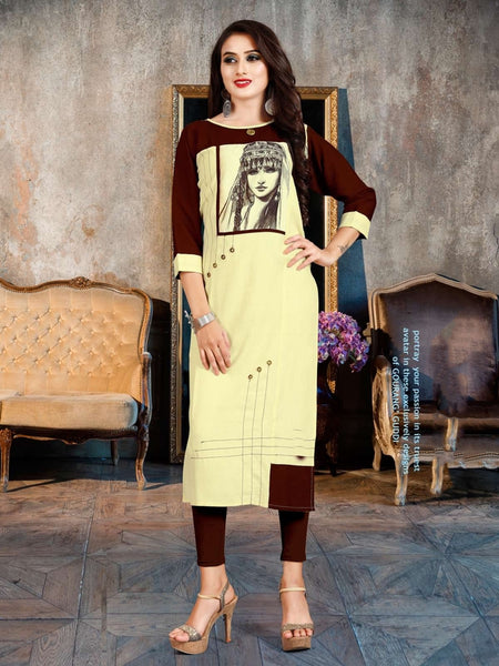 Designer and Beautiful Cream & Brown Color Straight Cut Kurti