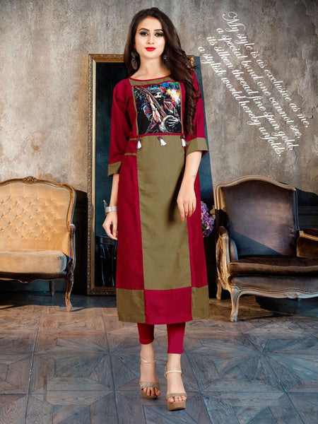 Designer and Beautiful Olive Green & Red Color Straight Cut Kurti