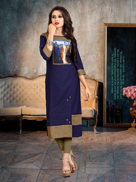 Designer and Beautiful Navy Blue & Beige Color Straight Cut Kurti