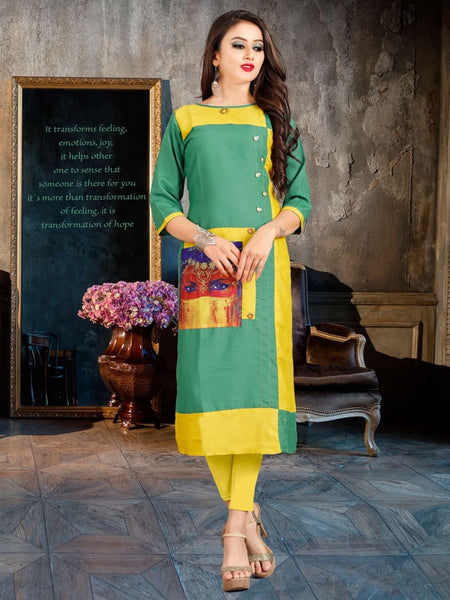 Designer and Beautiful Green & Yellow Color Straight Cut Kurti