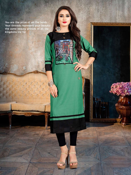 Designer and Beautiful Green & Black Color Straight Cut Kurti