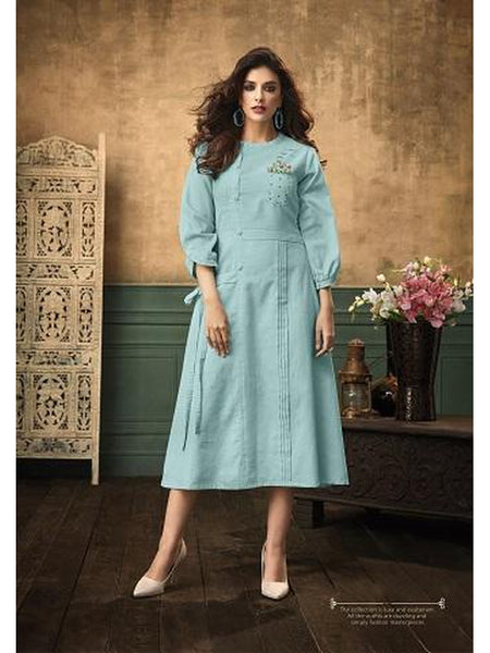 Designer and Beautiful Sky Blue Color Straight Cut Kurti