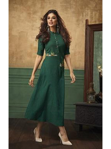 Designer and Beautiful Pine Green Color Straight Cut Kurti