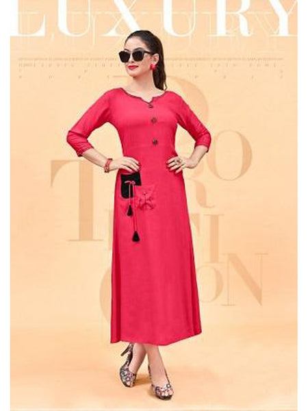 Designer and Beautiful Dark Pink Color Straight Cut Kurti