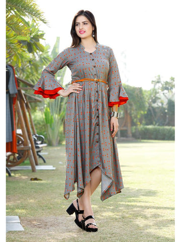 Designer & Beautiful Grey Color Western Look Anarkali Kurti