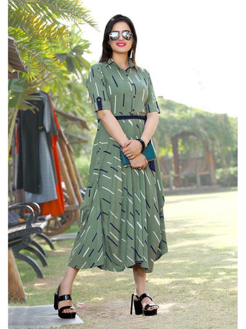 Designer & Beautiful Olive Green Color Western Look Anarkali Kurti