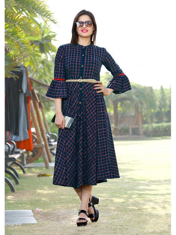 Designer & Beautiful Navy Blue Color Western Look Anarkali Kurti