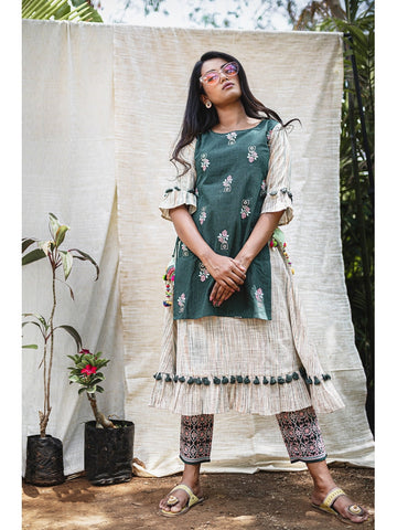 Designer & Beautiful Cream & Green Color Western Look Anarkali Kurti with Bottom