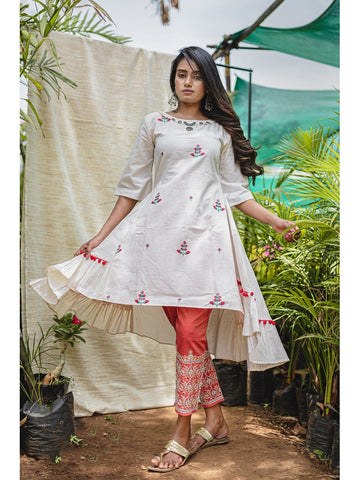 Designer & Beautiful Cream Color Western Look Anarkali Kurti with Bottom