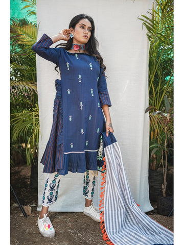 Designer & Beautiful Blue Color Western Look Anarkali Kurti with Bottom