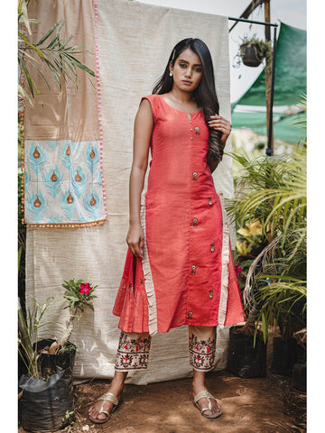 Designer & Beautiful Orange Color Western Look Anarkali Kurti with Bottom