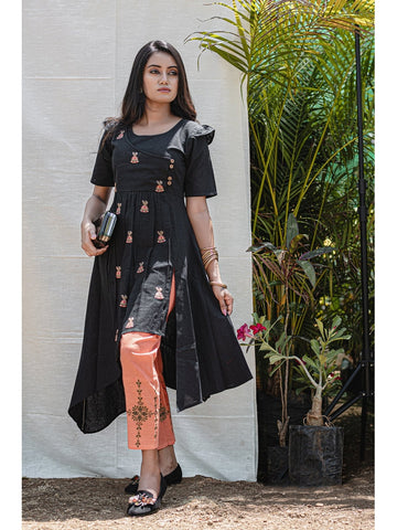 Designer & Beautiful Black Color Western Look Anarkali Kurti with Bottom