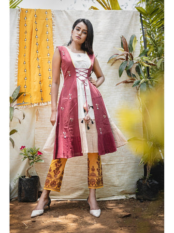 Designer & Beautiful Cream & Maroon Color Western Look Anarkali Kurti with Bottom