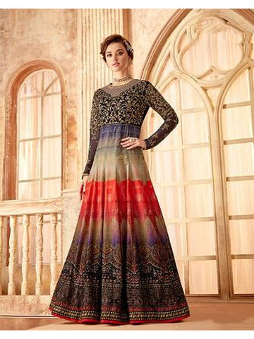 Designer Party Wear Navy Blue & Multi Color Anarkali Suit