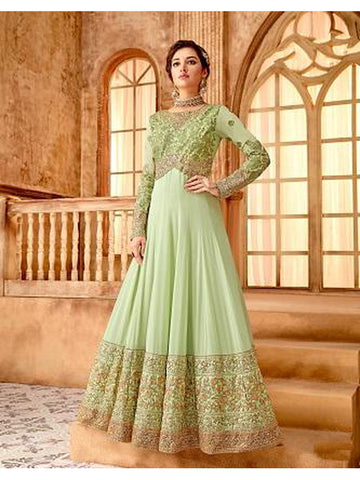 Designer Party Wear Pastel Green Color Anarkali Suit