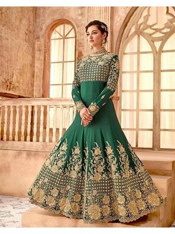 Designer Party Wear Pine Green Color Anarkali Suit