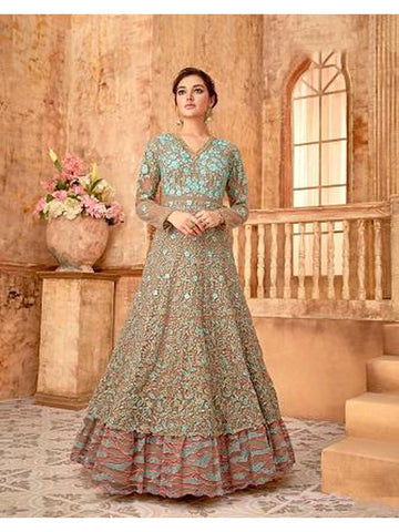 Designer Party Wear Beige & Sky Blue Color Anarkali Suit