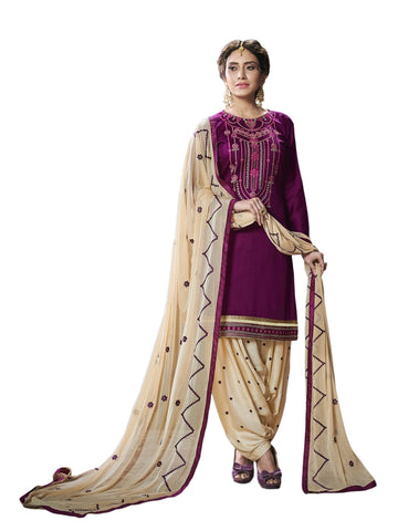 Designer and Beautiful Magenta Pink Color Patiala Suit