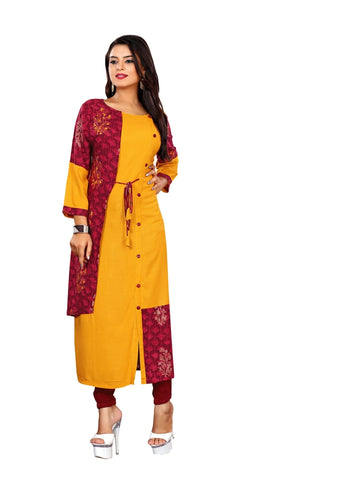 Designer and Beautiful Musturd Yellow & Maroon Color Straight Cut Kurti