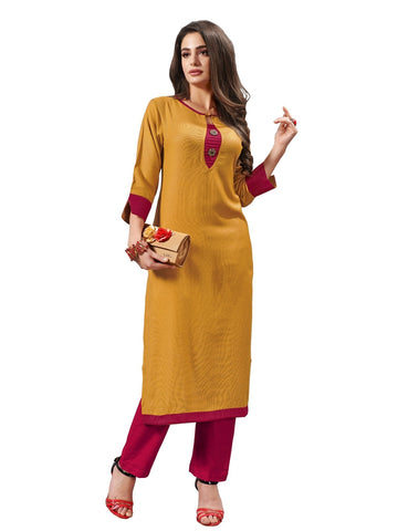 Designer and Beautiful Musturd Yellow Color Straight Cut Kurti